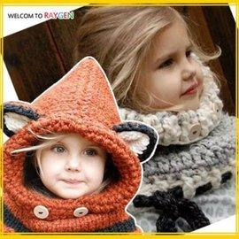狐狸手工毛線立體耳朵圍巾連帽披風 護耳帽 斗篷【HH婦幼館】