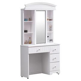 ~尚品傢俱~HY~A216~01 瑪莎白色2.7尺鏡台^(含椅^)