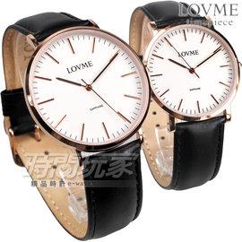 LOVME 情人對錶 簡約風格品味 藍寶石抗磨水晶玻璃 黑色真皮錶帶 VL0012M~43