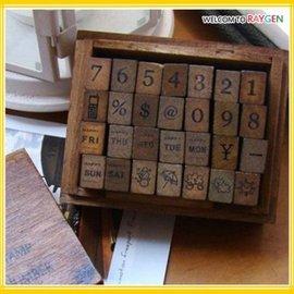 文具 日記本DIY數字日期天氣木盒裝印章 28枚套裝【HH婦幼館】