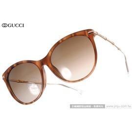 GUCCI 太陽眼鏡 GG3777FS HQXJ6 (流線棕-金) 魅力典雅貓眼廣告款 墨鏡 # 金橘眼鏡