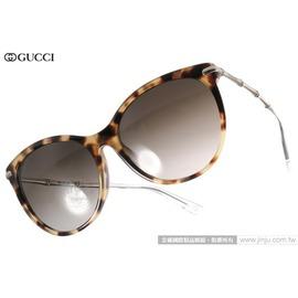 GUCCI 太陽眼鏡 GG3777FS HRTHA (琥珀-銀) 魅力典雅貓眼廣告款 墨鏡 # 金橘眼鏡