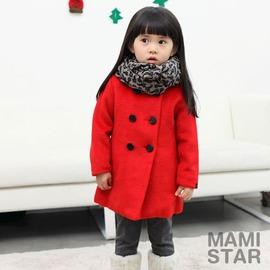 M.女童外套 蝴蝶結雙排扣毛呢大衣3色贈蕾絲毛領~5M241210~