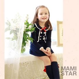 M.女童洋裝 貴族學院風假兩件長袖洋裝2色~5M241205~
