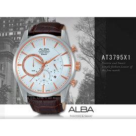 CASIO手錶  國隆 ALBA 雅柏 精工 AT3795X1男錶 石英錶 深棕色皮錶帶