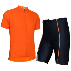 ~ 百分百~wellcls簡單熒光桔 短袖套裝 自行車衣 腳踏車衣 騎行服 自行車服 車衣