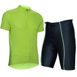 ~ 百分百~wellcls簡單熒光綠 短袖套裝 自行車衣 腳踏車衣 騎行服 自行車服 車衣