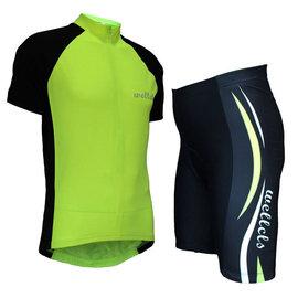 ~ 百分百~wellcls熒光綠 短袖套裝 自行車衣 腳踏車衣 騎行服 自行車服 車衣車褲
