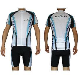 ~ 百分百~wellcls藍色魔鬼魚 短袖套裝 自行車衣 腳踏車衣 騎行服 自行車服 車衣