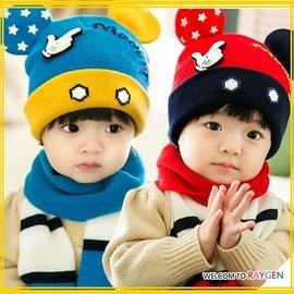 寶寶米奇耳朵造型針織護耳帽+圍巾 二件組【HH婦幼館】