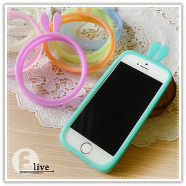 【Q禮品】A2721 兔耳果凍矽膠手機套/手機邊框/止滑/手機保護殼/手機套/矽膠手環/iphone5 6 plus