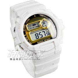 JAGA Blink系列 陽光炫麗多 電子錶 藍色冷光燈 男錶 M886~DL 白金