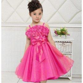 女童吊帶公主裙洋裝禮服裙 女孩純色一字領吊帶珍珠玫瑰大蝴蝶結蕾絲網紗連衣裙童裙 女孩 優雅