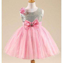 女童氣質甜美亮片網紗連衣裙禮服洋裝 女孩圓領亮片玫瑰貼花蝴蝶結大擺網紗連衣裙童裙 女孩甜美