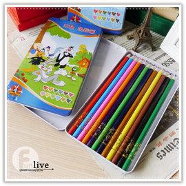 【Q禮品】B2758 華納卡通12色鉛筆-鐵盒/彩色鉛筆/彩虹筆/塗鴉/重點筆/彩色筆/正版授權/繪圖 畫畫用具