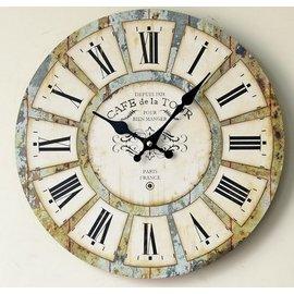 zakka雜貨 Vintage木製歐式鄉村風 復古仿舊 巴洛克希臘風格 圓型掛鐘 羅馬數字