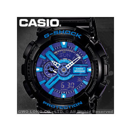 CASIO 卡西歐 手錶 GA~110HC~1A G~SHOCK 雙顯錶 橡膠錶帶 黑 耐