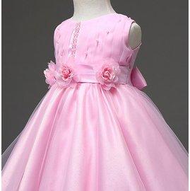 英倫風女童珍珠網紗連衣裙禮服洋裝 女孩純色珍珠高腰修身蝴蝶結大擺歐根紗公主裙童裙 女童簡約