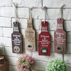 zakka 鄉村LOFT工業風 啤酒瓶罐 開瓶器 飲料罐開罐器 可吊掛 木製開瓶  擺飾