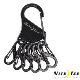 【美國 NITE IZE】Steel Key Rack 凱樂鑰匙扣/S型扣環鑰匙圈.高彈力不鏽鋼掛扣+6個8字扣_黑 KRS-03-01