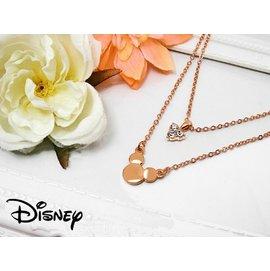 ~Disney~迪士尼80週年 項鍊 ~ 玫瑰金色雙鍊施華洛世奇鑽飾米奇