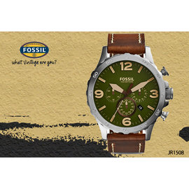 ~時間道~〔FOSSIL~錶〕簡約 三眼皮帶腕錶  抹茶綠面深咖啡皮 ^(JR1508^)