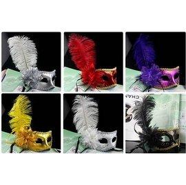 ~派對王國~舞會道具 派對 舞會面具 豪華面具 威尼斯面具 義式面具 鴕鳥毛帶花面具^(6