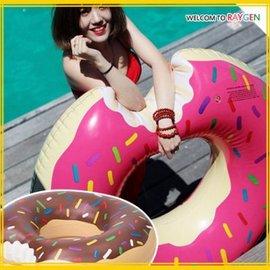 成人超大草莓巧克力甜甜圈游泳圈 救生圈【HH婦幼館】