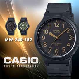 CASIO 極簡 腕錶 43mm MW~240~1B2 防水  MW~240~1B2VDF