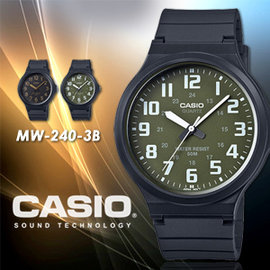 CASIO 極簡 腕錶 43mm MW~240~3B 防水  MW~240~3BVDF