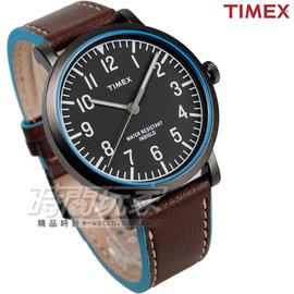 TIMEX 天美時 雙配色 時刻冷光 藍色 咖啡色真皮錶帶 男錶 T2P506