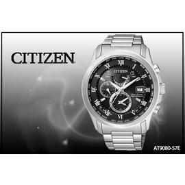 ~時間道~〔CITIZEN~星辰〕光動能電波萬年曆三眼腕錶 黑面鋼^(AT9080~57E