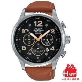 ~ALBA~雅柏 極限賽車三眼計時腕錶^~VD53~X236J AT3959X1~黑x棕