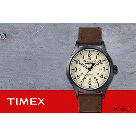 ~時間道 ~〔TIMEX~天美時〕簡約復古風潮 腕錶– 米白面咖啡皮^(TXT49963^