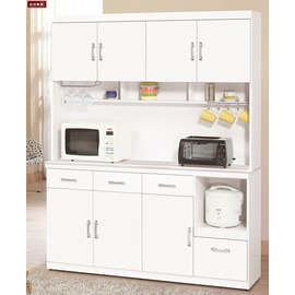 ~台北家福~^(FX826~3^) 祖迪白色5.3尺石面碗碟櫃  櫃^(上 下^)