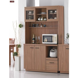 ~台北家福~^(FH252~1^)比提4尺柚木色餐櫃 碗盤櫃^(上座 下座^)