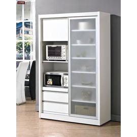 ~台北家福~^(FH253~2^)羽田4尺白色鋁框推門餐櫃 碗盤櫃