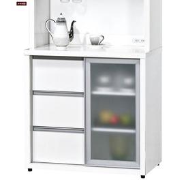 ~台北家福~ FH254~7 羽田2.7尺白色鋁框推門餐櫃 碗盤櫃 下座