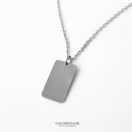 項鍊 素面百搭方形墜飾白鋼抗過敏 中性 款 簡約別緻輕鬆 柒彩年代~NB670~無印風