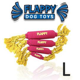 美國FLAPPY玩耍 ~FLOSSY FLAPPY草莓香蕉 L號~甩甩啾啾.棉繩狗玩具