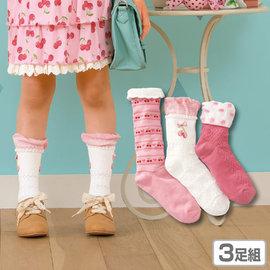 ^~韓風童品^~ ^(3雙 組^) 女童櫻桃圖案 花邊中筒襪 兒童棉襪子 粉色公主襪 中大