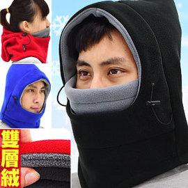 加厚雙層絨保暖頭套E010-02 (防寒防風面罩.全罩式口罩魔術頭巾.保暖圍巾脖圍脖頸套.蒙面帽抓絨帽子.機車騎士滑雪登山飛虎生存遊戲CS)