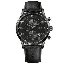 Hugo Boss 黑暗德意風格計時腕錶-黑