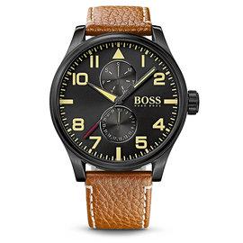 Hugo Boss AEROLINER MAXX雙眼皮帶腕錶-咖