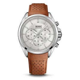Hugo Boss 紳士計時皮帶腕錶-咖