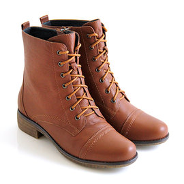 全真皮率性品味素面綁帶側拉鍊短筒軍靴