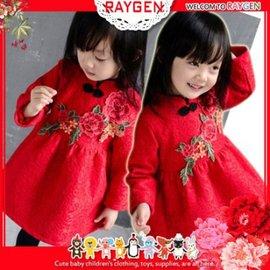 新年刺繡花朵蕾絲旗袍領加絨洋裝 連身裙【HH婦幼館】