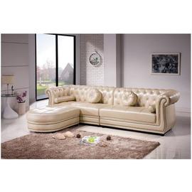~HC229~02~艾米莉歐風銀白L型皮沙發