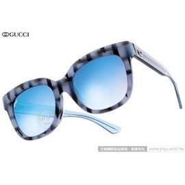 GUCCI 太陽眼鏡 GG3756FS YV5KM (藍-透藍) 搶眼格紋 唯美水銀鏡面款 墨鏡 # 金橘眼鏡