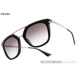 PRADA太陽眼鏡 SPR13Q 1AB0A7 (黑-金) 歐美時尚造型貓眼款 墨鏡 # 金橘眼鏡